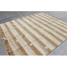 R372 Contemporary Handmade Stripe Tibetan Area Rug 8' X 10' Wool/silk Hand Knotted in  Nepal