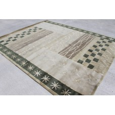 R23822 Contemporary Green Tibetan Area Rug 8' X 10' Wool/ Silk Handmade In Nepal