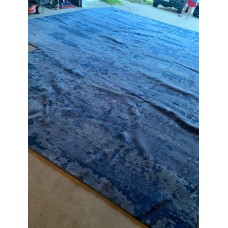 R12311 Custom made  Wool & Silk  Blue L shaped Tibetan Area Rug 15' x 22' Handmade in Nepal