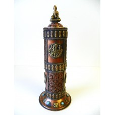 F695  Very Artistic Tibetan Cylinder Shape Copper Incense Burner Made in Nepal