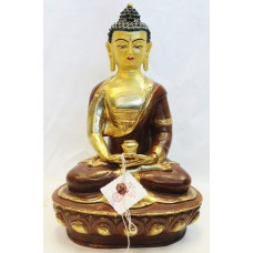 "F652 Exclusive Gold Plated Copper Statue of Amitabha Buddha 13"" Handmade Nepal"