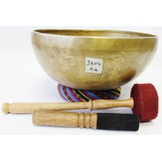 "J604 THIRD EYE 'A#' CHAKRA  HEALING HAND HAMMERED TIBETAN SINGING BOWL 10"" WIDE"