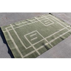 R3871 Gorgeous Contemporary Hand Knotted Green Tibetan Area Rug 5'x8' Made in Nepal