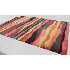 R372 Superb Bold striped Tibetan Woolen Area Rug 9' x 12' Handmade in Nepal