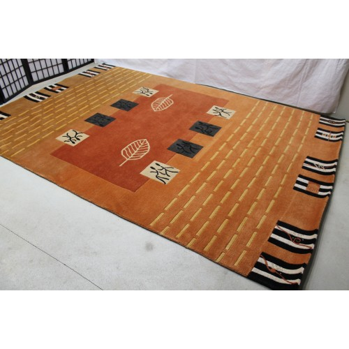 rust orange color deep rg477 contemporay tibetan woolen rug on rust orange color 6 9 handmade in nepal