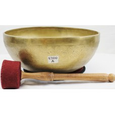 "E700 Energetic Third Eye 'A' Chakra Healing Hand Hammered Tibetan Singing Bowl 11"" wide Made in Nepal"
