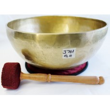 "J701 Energetic Throat ""G#"" Chakra  Healing Hand Hammered Tibetan Singing Bowl 10.25"" Wide Made In Nepal"
