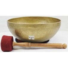 "E762  Energetic Third Eye 'A' Chakra Healing Hand Hammered Tibetan Singing Bowl 11"" wide Made in Nepal"